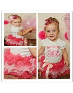 2pcs set Baby Short Sleeve Happy Birthday T-Shirt + Bow Tutu Layered Cake Skirt