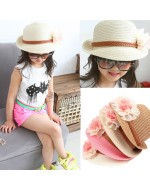 Korean Fashion Half Flanging Straw Hat with Flowers