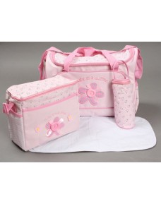 Sweet Flower Button Diaper Bags (4pcs Set) -  PINK