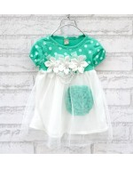 Sweet Summer Girls Polka Dot Flower Dress (PINK/ GREEN)