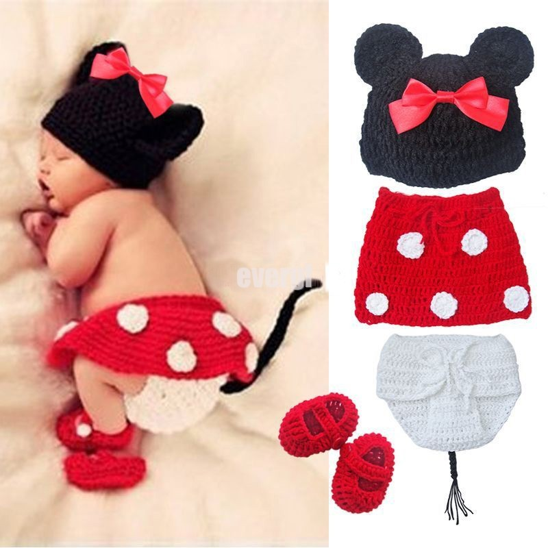 Baby Crochet Set Minnie Mouse Knitted Costume Photo Props