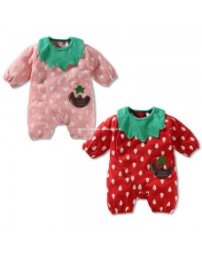 Lovely Strawberry Romper with Bib Set