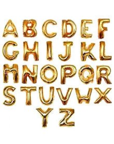 "16"" Gold Colour Non-Helium Alphabets Foil Balloon (A-Z/ HAPPY BIRTHDAY)"