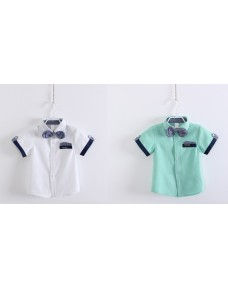 Boy Summer Short Sleeve Shirt (British style shirt collar)