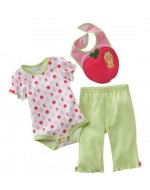 Sweet Apple Rompers Set with Pants & Bibs