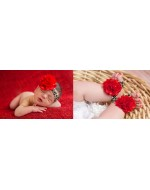 Sweet Red Big Flower Leopard Print Headband & Pre-walker Set