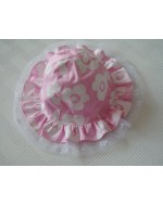Girl's Pink White Flowers Hat
