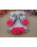 Zebra Baby Rhinestones/Pearl Ballerina Vintage Rhinestone Crib Shoes and Flowers Headband set
