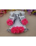 Zebra Baby Rhinestones/Pearl Ballerina Vintage Rhinestone Crib Shoes and Flowers Headband set