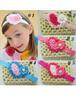 Sweet Chiffon Satin Flower Heart Shape Headbands with Rhinestone