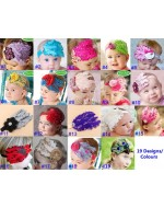 Feather Flower Headbands (19 Designs/ Colours)