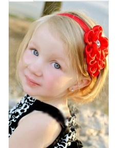 Sweet Baby Girls RED FLOWER Headbands