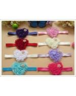 Heart Shape Chiffon Headbands with Rhinestones (8 colours)