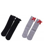 Girl's Knee Length Socks (Black / Black & White Stripes)