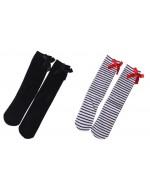 Girl's Knee Length Socks (Black / Black & White Stripes)