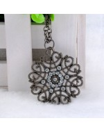 Bohemia Hollow Out Rhinestone Flower Round Pendant Necklace