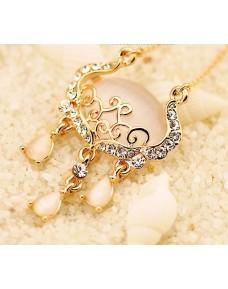Elegance Longevity Lock Opal Rhinestone Necklace