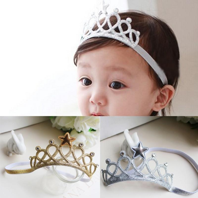 Baby  Girls Crown Scrunchy Princess Tiara Star Headbands 2cb247e623a