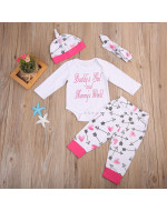 Daddy & Mommy's Baby Girls Romper 4pcs Set