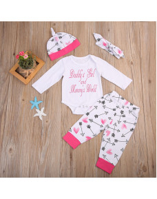 Daddy & Mommy's Baby Girls Romper 4pcs Set
