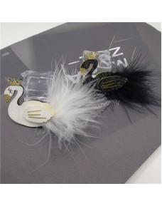 Beautiful Glitter White and Black Swan Hair Clip