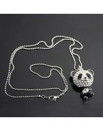 Fashion Panda Bling Bling Rhinestones Long Necklace