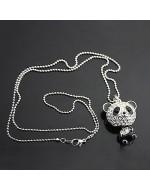 Fashion Panda Bling Bling Rhinestones Long Necklace
