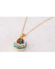Fashion Multi-Colored Crystal Rhinestone Teardrop Shape Pendant Necklace