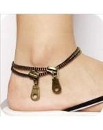 Vintage Copper Rivet Zipper Style Anklets