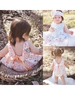 Baby Girl Summer Lace Floral Backless Dress Briefs Set
