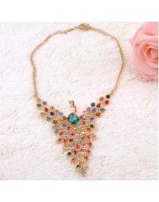 Colorful Rhinestone Peacock Style Necklace