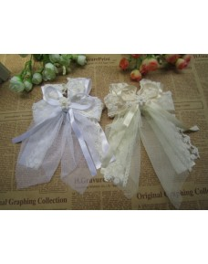Beautiful Girls Long Ribbons Lace Hair Clip (White/ Cream)