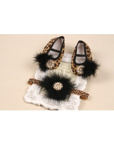 Beautiful Leopard prints Shoes & Headband Sets