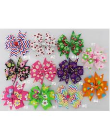 Colorful Printed Grosgrain Ribbon Bows Hair Clips Hair Accessories