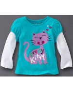 Jumping Beans - Pretty Kitty Blue white Long Sleeve T-shirt