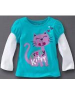 Jumping Beans - Pretty Kitty Blue white Long Sleeve T-shirt
