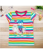 Sweet Rainbow T-shirt with Embroidery and Yarn Dyed Stripes