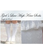 Girl White Lace Knee High Socks/ Stocking