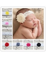 New Shabby Flower with Pearl Lace Headband (10 colours)