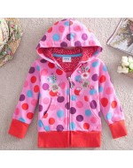 Nova Sweet Polka Dot and Lovely Floral Embroidered Hoodies Jacket