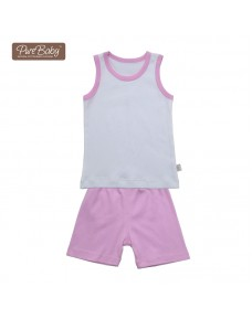 Organic Sleeveless Set - P006 (Blue/ Pink)