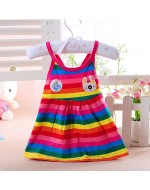 Sweet Rainbow Baby Dress (Pink/ Green)