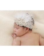 Premium Rhinestones Feather Lace Headband