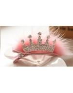 Princess Pink fur Rhinestone Crown Crystal Hairclip