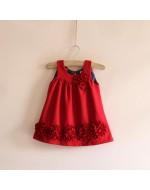 Elegant Red Flower Woolen Vest Girls Dress (Limited Stock)