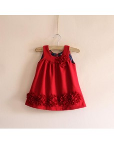 Elegant Red Flower Woolen Vest Girls Dress (Limited Stock)
