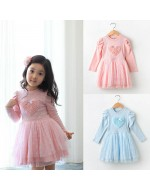 Korean Style Collection ~ Beautiful Heart Shape floral Long Sleeve Dress / Princess
