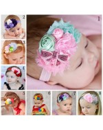 Princess Shabby Flower and Bow Headbands (8 Colours)