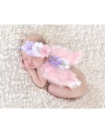 Angel Wings Feather Wings with Flowers Headband Photography Props (PINK)
