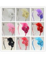 Lovely Lace Flower Satin Ribbon Rose Headbands with Rhinestone Button (9 colours)